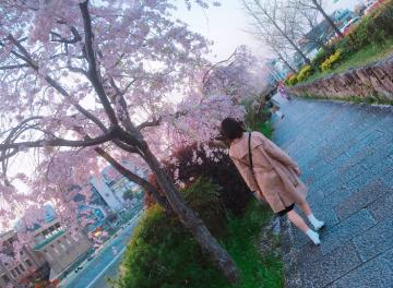 桜の中を歩く筆者