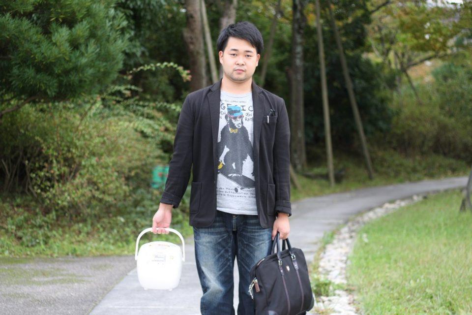 京都学生祭典にやってきた京都学生広報部編集長と炊飯器