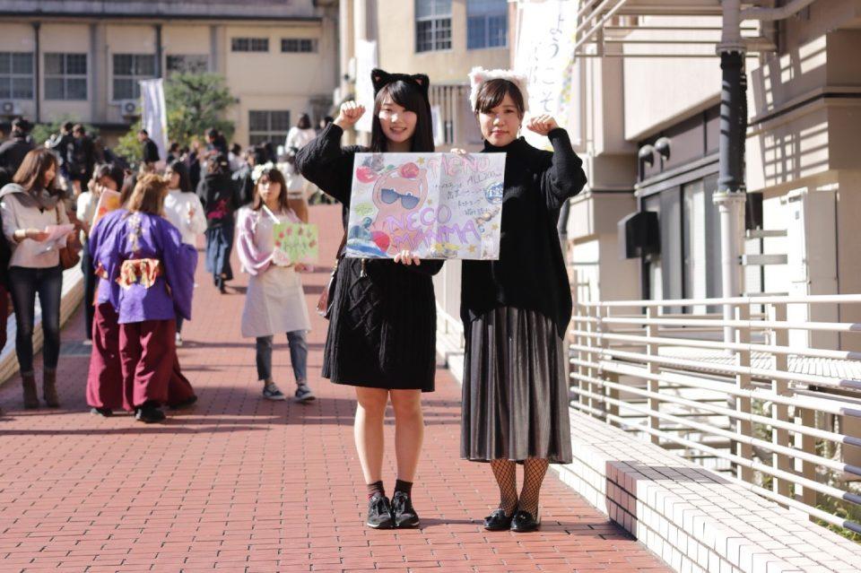 京都女子大学軽音楽部「あほうどり」の植山真帆さんと形山理映さん