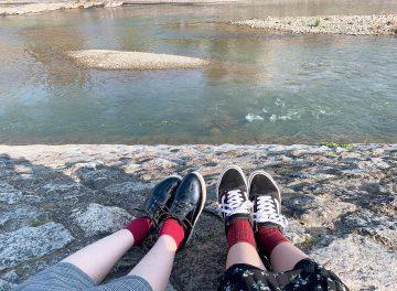 鴨川を見ながら休憩